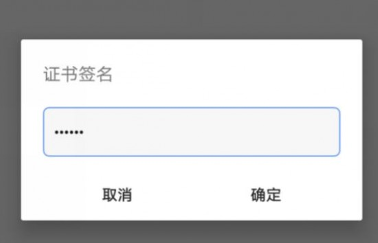 输入证书密码界面